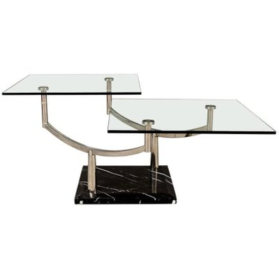 Two Tiered Glass Coffee Table With A Chrome Frame U0026 Stone Base 1