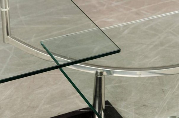 Two Tiered Glass Coffee Table With A Chrome Frame Stone Base 5