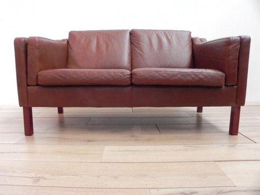 Vintage Scandinavian Sofa In Brown Leather 3