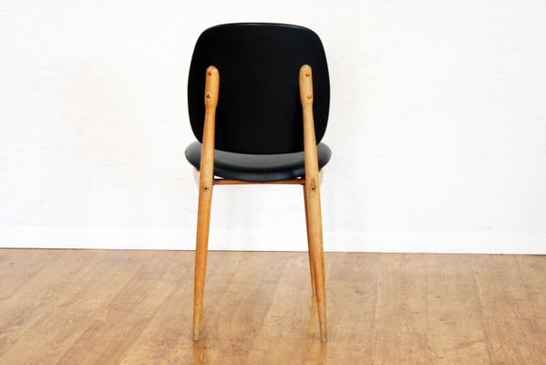 Vintage Solid Beech U0026 Black Pine Chair By Pierre Guariche 3
