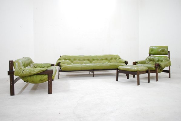 Model Mp 041 Lime Green Leather Sofa From Percival Lafer, 1961 For