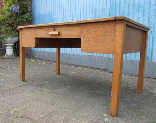 Vintage Industrial Rustic Oak Writing Desk 2