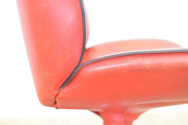 Nice Vintage Swiss Red Leather Side Chair From Atelier L 10