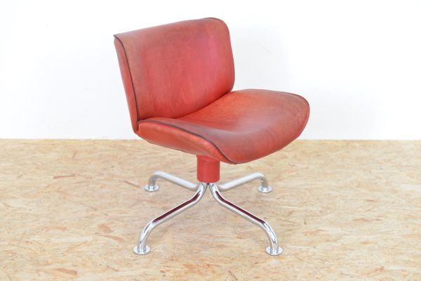 Vintage Swiss Red Leather Side Chair From Atelier L 1
