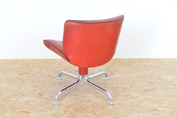 Vintage Swiss Red Leather Side Chair From Atelier L 2