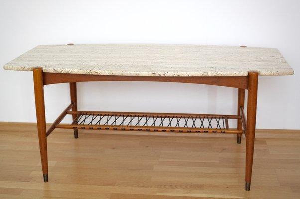 Berühmt Table Basse en Forme de Planche de Surf avec Plateau en Travertin  IV01