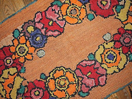 Antique American Handmade Hooked Rug, 1940s 2