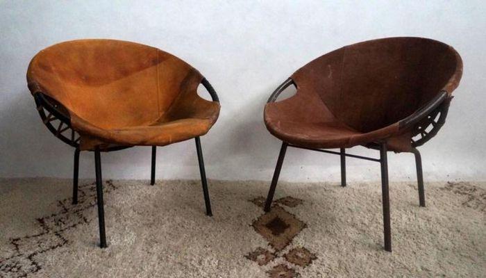 Sedie Vintage Pelle : Sedie vintage in pelle di lusch erzeugnis set di 3 in vendita su pamono