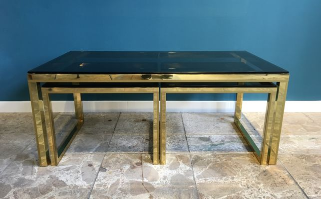 Vintage Brass U0026 Smoked Glass Nesting Tables 1