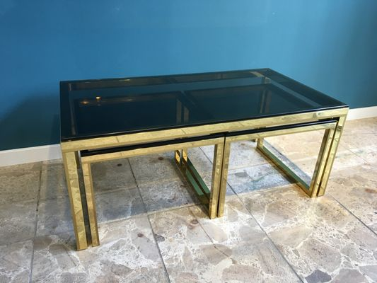 Vintage Brass U0026 Smoked Glass Nesting Tables 11