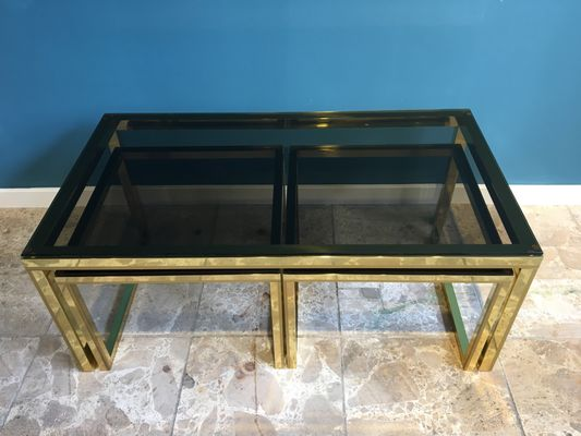 Vintage Brass U0026 Smoked Glass Nesting Tables 10
