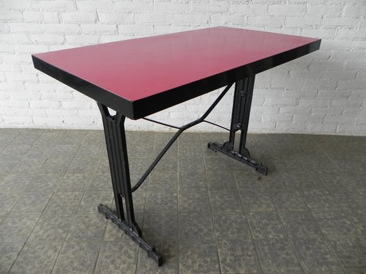 French Bistro Table With Cast Iron Frame And Formica Top, 1930s 2
