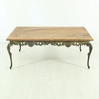 Brass U0026 Wood Coffee Table, 1930s 1