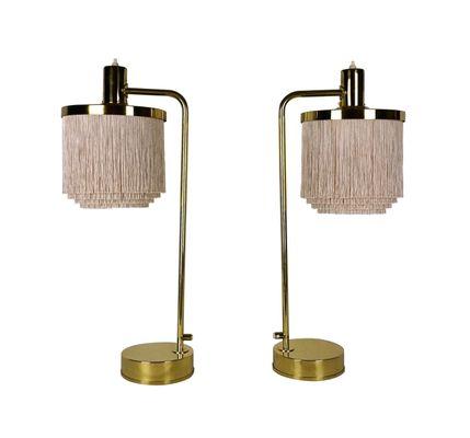 Vintage Model B140 Silk Fringe Brass Table Lamps from HansAgne