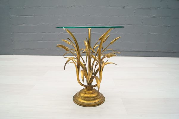 Hollywood Regency Wheat Sheaf Side Table In Gold, 1960s 2