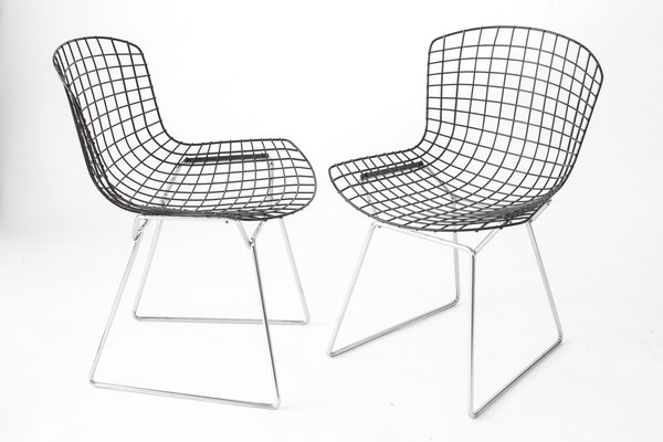 Bertoia Wire Chair vintage wire chairs with black seats & chromed basesharry