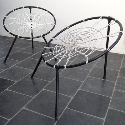 French First Edition Plan Chairs With Spider Web Seat By Hoffer, 1958, Set  Of