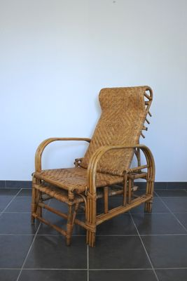Vintage French Bamboo Reclining Chair 1950s 1 : bamboo recliner chair - islam-shia.org