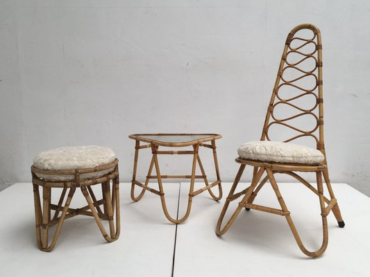 Rattan Stool, Table U0026 Highback Chair With Faux Fur Cushions From Rohé  Noordwolde, 1950s
