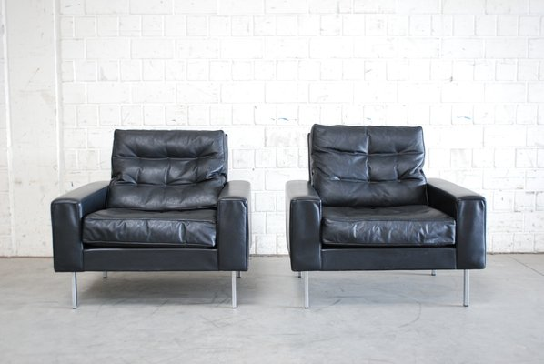 Vintage Black Leather Armchairs From De Sede, 1967, Set Of 2 2