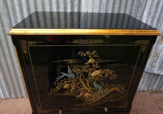 Chinese Hand Painted Black Lacquer Cabinet, 1981 16