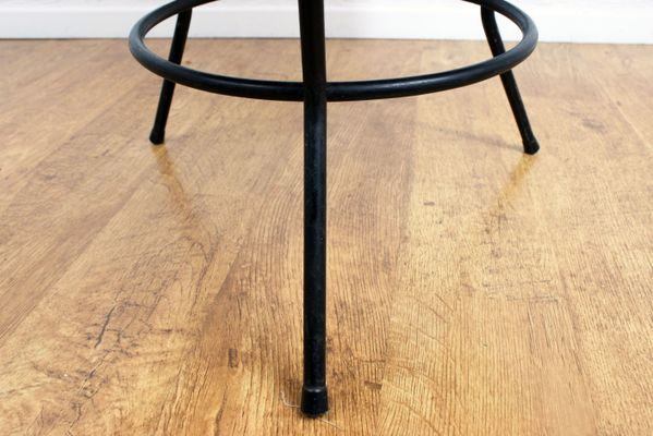 Vintage Rattan Coffee Table With Black Metal Base 5
