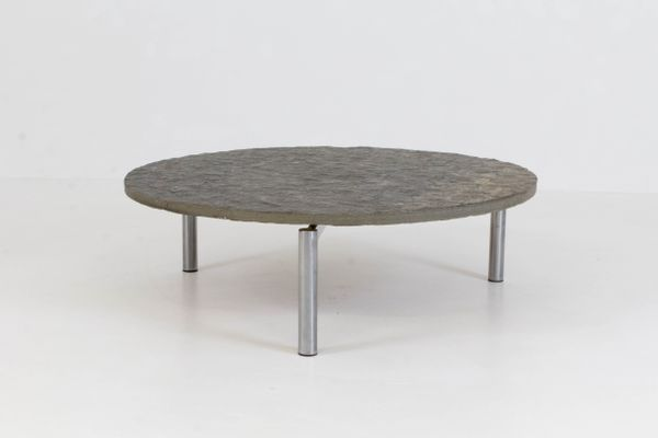brutalist mid-century slate top coffee table, 1970s for sale at pamono