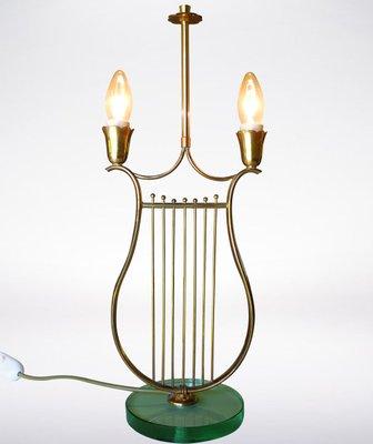 Italian Harp Shaped Brass Table Lamp, 1930s 1