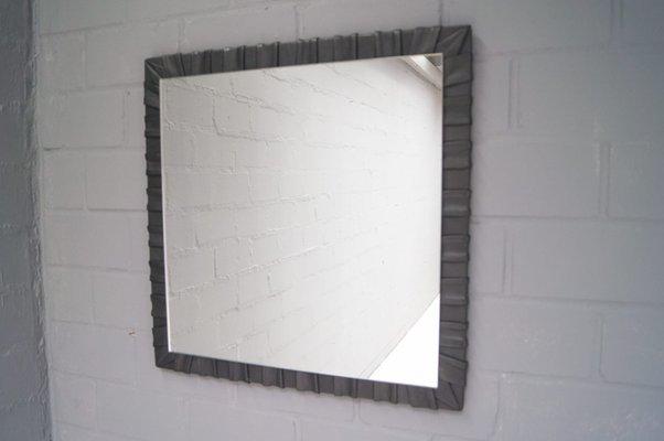 Specchio da parete quadrato in pelle, Francia, anni \'60 in vendita ...