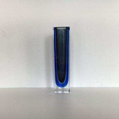 Italienische Blaue Murano Glas Sommerso Vase Von Alessandro Mandruzzato 1