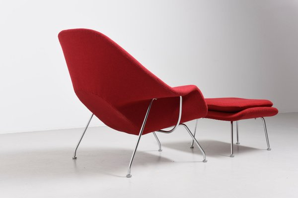 Vintage Womb Chair with Ottoman by Eero Saarinen for Knoll 5