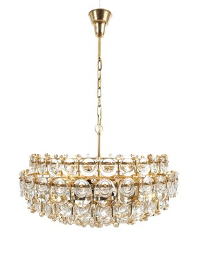 Large gilt brass glass chandelier from palwa 1960s for sale at large gilt brass glass chandelier from palwa mozeypictures Images