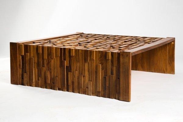 large brazilian brutalist jacaranda wood coffee table by percival lafer 1