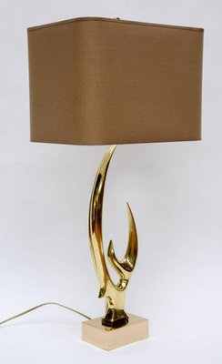 Brass Antler Table Lamps By Willy Daro, Set Of 2 2