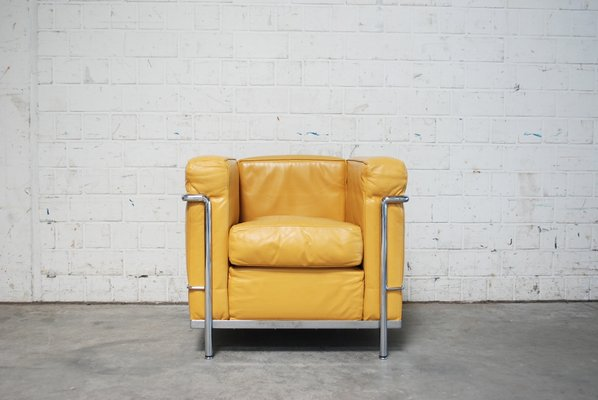 vintage yellow model lc2 leather chair by le corbusier for cassina 2
