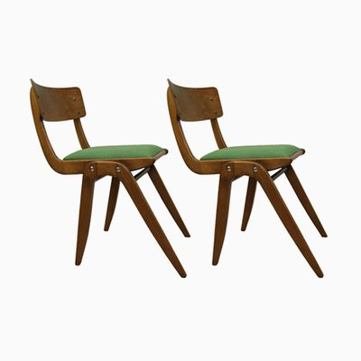 Mid Century Polish Beech Chairs With Green Fabric, Set Of 2 7