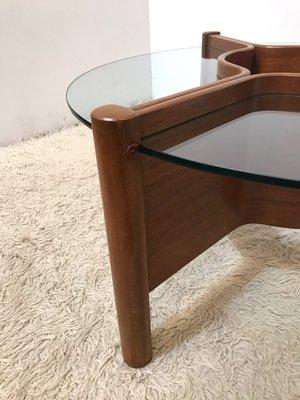 mid-century triform teak & glass coffee table with adjustable
