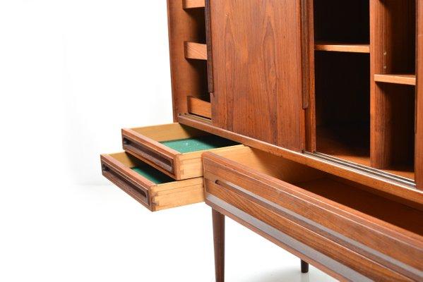 midcentury danish teak sideboard with 4 sliding doors 5