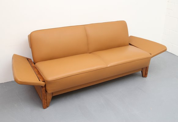 cognac leather daybed 1950s 11 - Leather Daybed