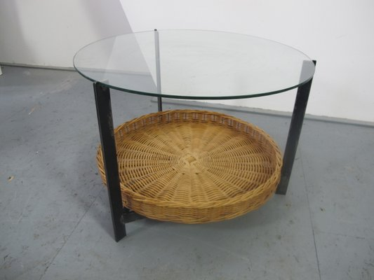 Steel, Glass, U0026 Rattan Side Table, 1960s 1