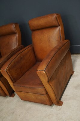 french cognac leather club chairs 1940s set of 2 3 - Leather Club Chairs