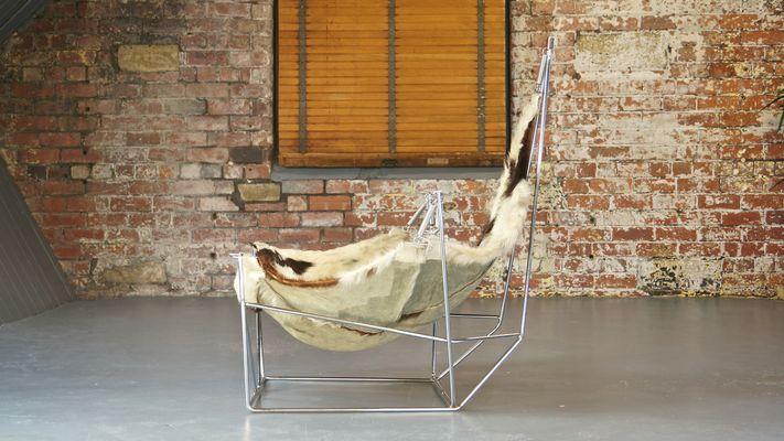 Vintage Sculptural Metal And Cowhide Sling Lounge Chair 9