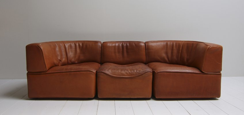Vintage Ds15 Saddle Leather Sofa In Cognac Color From De Sede For