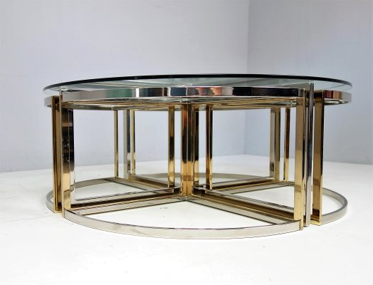 Superb Glass, Steel And Brass Round Table From Maison Charles, 1970s 4
