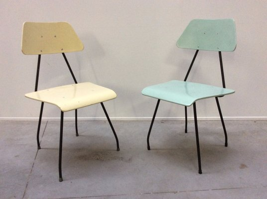 Mid Century Dutch Multi Colored Chairs By Rob Parry For Dico, Set Of