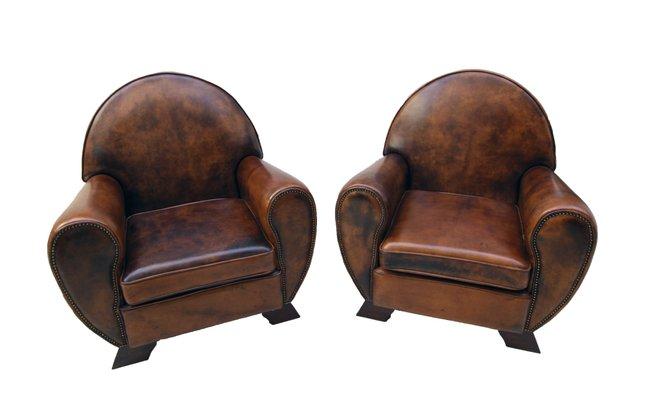 Vintage Leather Club Living Room Set, Set of 3 for sale at Pamono