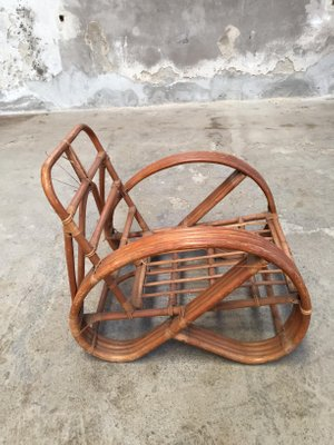 High Quality Round French Bamboo U0026 Rattan Pretzel Shaped Lounge Chair, 1950s 3