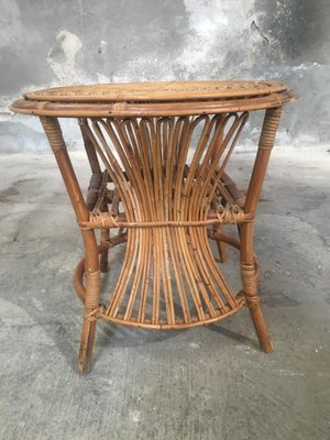Italian Bamboo U0026 Rattan Side Table U0026 Four Chairs, ...