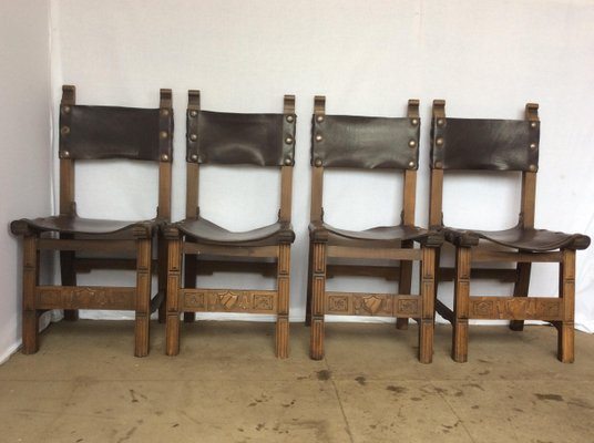 oak and leather sling chairs 1920s set of 4 2