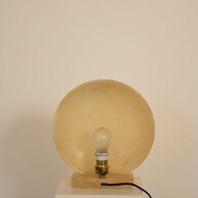 Mid Century Round Modern Alabaster Table Lamp, 1970s 5